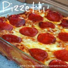 Pizzetti (Pizza & Spaghetti Casserole) is a family favorite and so easy to make! It's the perfect dinner for a busy weeknight!