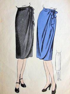 For bridesmaids: 1940s SLIM WRAP AROUND SKIRT PATTERN CASCADE DRAPERY VOGUE PATTERNS 5012
