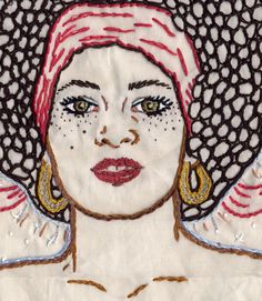 Embroidery Hand Dirty Face, Crowning Glory (detail)- hand embroidery on cotton. Collection of Dan Ferrara. Modern Embroidery, Hand Embroidery Patterns, Embroidery Applique, Cross Stitch Embroidery, Machine Embroidery, Embroidery Designs, Fabric Painting, Fabric Art, Portrait Embroidery