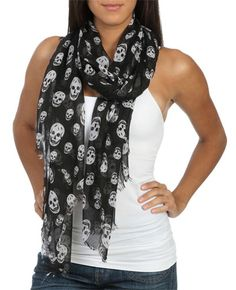 Skull Raw Edge Sarf | Shop Trending Now at Wet Seal
