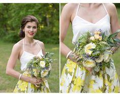 Yellow / white bridesmaid separates