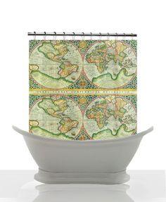 Antique World Map Shower Curtain - Antique Map - Vintage World  Map - Home Decor - Bathroom - maps - Decor