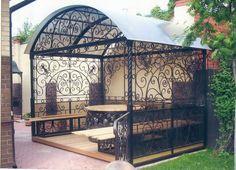 Pergola Ideas For Patio Info: 5341269044 Eisen Pergola, Outdoor Spaces, Outdoor Living, Jardin Decor, Gazebos, Iron Work, Pergola Designs, Plan Design, Wrought Iron