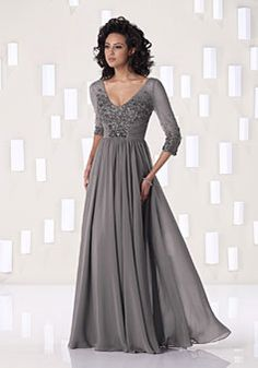 A-line Chiffon V-Neck Natural Waist Floor-Length Half Sleeve Appliques Beading Mother of The Bride Dress