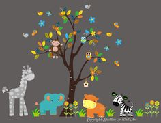 """Jungle Animals Nature Removable Reusable Wall Decals Baby Nursery Art 78"""" x 105"""""""