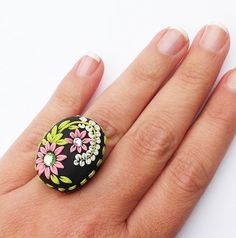 Chunky Cocktail Ring Handmade Cabochon Pink by PiperPixieDesigns, $20.00