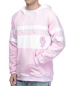 Odd Future OF Collegiate Stripe Pink & White Hoodie