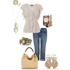"""Beige / Nude, White, Jeans, Mint, Brown Outfit  """"Classic casual"""" by kaybraden on Polyvore"""