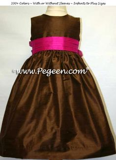 Chocolate Brown and Raspberry Silk Flower Girl Dresses by Pegeen.com with Silk Roses