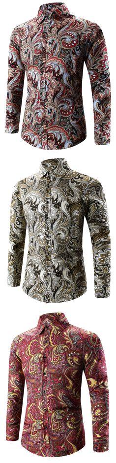 $6.99,Turn-Down Collar Long Sleeve Paisley Shirt   rosewholesale, rosewholesale for men, shirts, long sleeves   #rosewholesale #shirts #mensoutfit