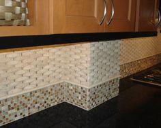 White Stone Backsplash Kitchen subway tiles with mosaic accents   tiled backsplash accent border