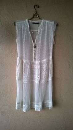 Image of Riva for Anthropologie sheer mesh lace dress..pair with fall slip and boots