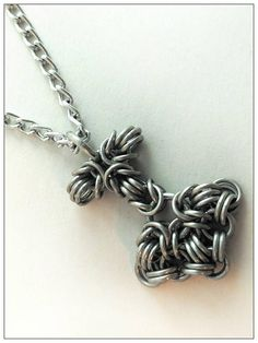 Tiny chainmaille Thor's Hammer on custom length chain. https://www.etsy.com/listing/538617843/tiny-chainmaille-mjolnir-thors-hammer