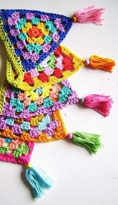Crochet Bunting Pattern, Crochet Garland, Crochet Square Patterns, Crochet Squares, Crochet Granny, Crochet Motif, Granny Pattern, Crochet Edgings, Granny Squares