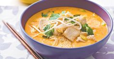 Pick up some store bought laksa paste for this creamy chicken and tofu laksa.