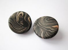 Clip on earrings polymer clay button ear clips retro by Lagneys
