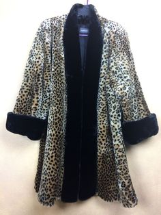 a38c20da9a FAUX FUR Leopard Swing Coat w Black Trim by Expressions Super Soft Size L   Expressions