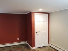 Door at bottom of steps for basement. For sump Small Basement Design, Basement Designs, Basement Ideas, Small Finished Basements, Small Basements, Basement Walls, Sump, Paint Colors, Design Ideas