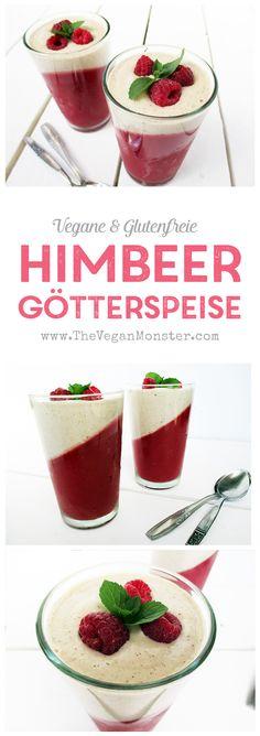 Rezept für vegane glutenfreie Himbeer Götterspeise Wackelpudding ohne Milch ohne Öl