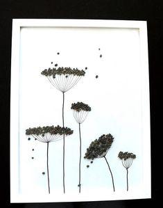 Image of pebbles Pebble art flower 30 x 40 framed
