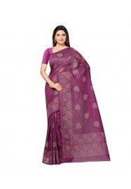 Purple Printed Cotton Saree