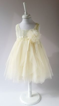 Ivory Empire Waist Baby Tulle Dress with Stretch by AylinkaShop