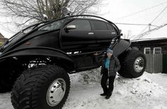 An all-terrain batmobile? Apparently, a Russian guy designed this car using a modeling software. Then he and his friends got a Nissan Maxima & a source for some parts& and built it. Nissan Maxima, Weird Cars, Cool Cars, Crazy Cars, Futuristic Motorcycle, Motorcycle Helmet, Volvo Xc90, Transporter, Toyota Tacoma