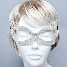 "Amazon.com: Womens Crystal Mask, Silver & Clear Crystal, Mask Size : 6"" W, 3"" L: Jewelry"