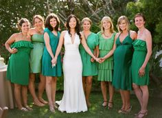 "I love the ""pick a green sundress"" carefree-affordable-simple-request for bridesmaids."
