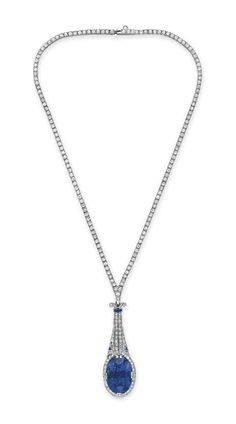 An art deco sapphire and diamond necklace, by Tiffany & Co. #christiesjewels