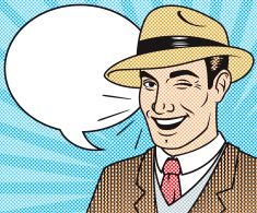 Retro Halftone Comic Book Character with Speech Bubble vector art illustration