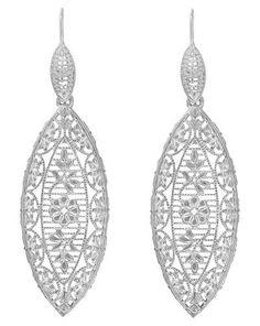 Art Deco Dangling Leaf Sterling Silver Filigree Diamond Earrings