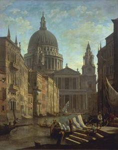 William Marlow.Capricho con la Catedral de San Pablo en el Gran Canal de Venecia 1795. Londres, Tate.Importante pintor de marinas y batallas navales.Miembro de la Society of Artists London.Realizó el Gran Tour acompañado por el Duque North umberland.