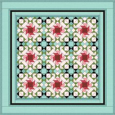 This is my 'Rose Trellis' design. I'm not a very 'girly girl' so thinking about what might make a good design to celebrate Valentine's Day was always going to be a bit of a challenge.  I persevered and came up with this - pink roses 'cooled' by the use of shades of aqua.  Being Welsh and therefore (allegedly) a bit naughty, I couldn't resist adding  just a LITTLE touch of black!