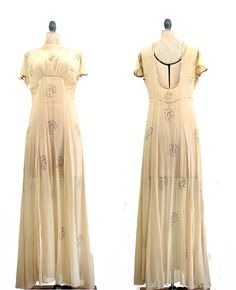'30s rhinestone-studded chiffon gown, Artifact Bridal. #wedding
