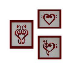 Music Clef Hearts Cross Stitch Patterns, Instant Download PDF, Cross Stitch Hearts Pattern Collection, Valentine Music Hearts Patterns