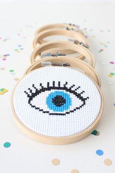 Evil Eye Cross Stitch Kit / Eighties Cross Stitch Kit / Mini