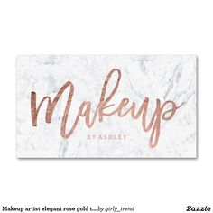 Makeup artist elegant rose gold typography marble business card