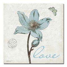 """Illustration s'étendait d'impressions sur toile 24 Floral botanique"""" x 24"""""""