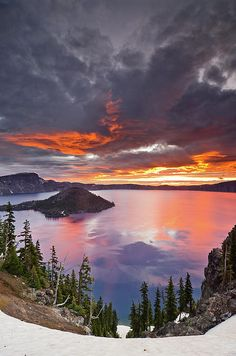 Crater Lake at dawn, Oregon; photo by Greg Nyquist. I worked here for two summers many years ago. Fun times.