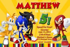 Sonic the Hedgehog Invitations, Sonic the Hedgehog Party, Knuckels Invitation, Tails Invitation, Birthday Invitation You Print Digital File by DazzelPrintz on Etsy https://www.etsy.com/listing/286111509/sonic-the-hedgehog-invitations-sonic-the