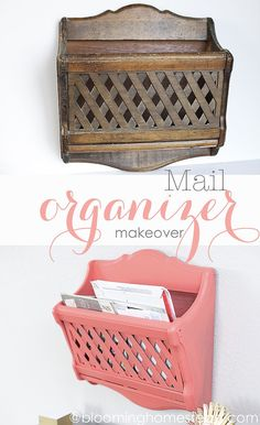 Easy Mail Organizer Makeover- Found this magazine holder at the thrift store and upcycled it into this beauty. Love the paint color.