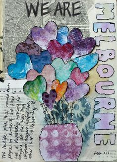 Gelli printed flowers and collage.