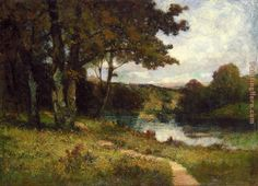 Edward Mitchell Bannister landscape, trees near river painting anysize 50% off - landscape, trees near river painting for sale