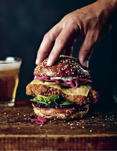 The Route 66 fried chicken burger is a take on the classic American chicken sandwich, using panko-breaded chicken thigh, gem lettuce, Monterey Jack cheese and pickles. #wingmanschicken #friedchickensandwich #chickenburger #chickensandwich #wingmans #wingsandthings @raincoastbooks Panko Breaded Chicken, Fried Chicken Burger, Buttermilk Ranch Dressing, Cooking Chicken Wings, Bbq Wings, Bread & Butter Pickles, Onion Jam, Boneless Chicken Thighs