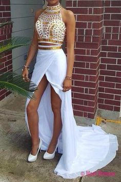 A Line Prom Gown,Two Piece Prom Dresses,White Evening Gowns,2 Pieces Party Dresses,Chiffon Evening Gowns,Gold Beaded Formal Dress For Teens PD20185122
