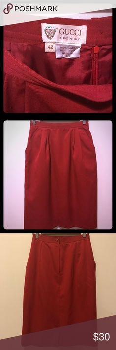 "🦁Retro GUCCI Skirt🦁 Classic pencil skirt in rich crimson. And she has POCKETS!! 100% wool, excellent condition minus a small tear in the liner on back slit (shown in last photo). Length: 24.5"", waist: 13.5"" (EU sz 42). Gucci Skirts Pencil"