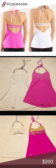 Lot of 2 Lululemon Wandering Yogi Halter size 4 Lot of 2 Lululemon Wandering Yogi Halter previously owned but it great condition. Comes with bralette inserts.  Free Lululemon shopping bag with purchase. White / Metallic Silver and pow pink lululemon athletica Tops Tank Tops