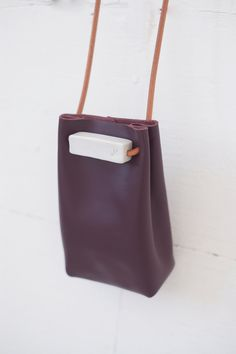 jujumade — pouch bag -oxblood color leather (unlined) with porcelain details and leather cord straps H x W x D Small Leather Bag, Leather Pouch, Leather Cord, Leather Craft, Leather Purses, Leather Handbags, Diy Leather Projects, Couture Cuir, Fabric Bags