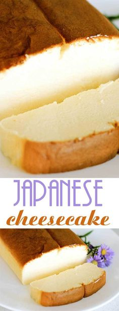 Recipe for Japanese Cheesecake You'll love it if you are a fan of lighter, springy cakes. I also love this version because it calls for less eggs than most recipes for Japanese cheesecakes! Japanese Cheesecake Recipes, Japanese Desserts, Japanese Cake, Japanese Food Healthy, Japanese Food Recipes, Just Desserts, Dessert Recipes, Gourmet Desserts, Health Desserts